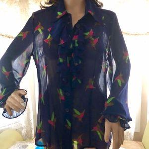 Twiggy London Hummingbird Blouse NWOT